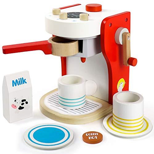 TONZE Macchina Caffe Cucina Giocattolo Legno per Bambini Caffettiera Giochi Bambini Regalo Ragazza Ragazzo 3 4 5 6 Anni Gioco di Ruolo 9 Pezzi