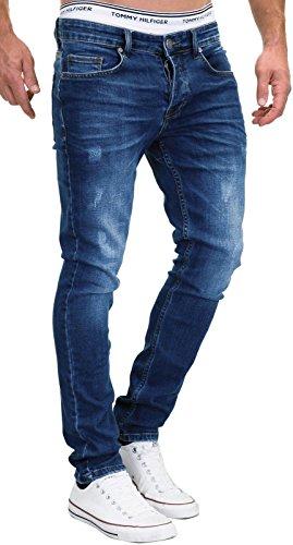 MERISH 9148-2100 - Jeans da uomo slim fit, elasticizzati, in denim 501-1 blu scuro. 31 W/32 L