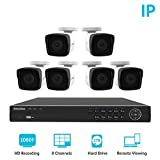 Laview 1080p home security camera system, 8 channel NVR recorder with 2TB hard drive, 6 bullet 1080p waterproof IP66 security system cameras, indoor/outdoor surveillance system with 100ft night vision