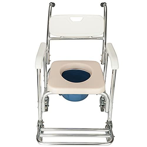 Trlec Multifunctional Transport Wheelchair, Aluminum Bathroom Shower Chair,Pregnant Women Commode Chair Bath Chair,Bedside Toilet Seat, for Handicap, Seniors and Pregnant Women,White