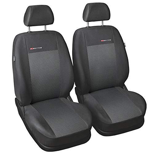 Carpendo Sitzbezüge Auto Vordersitze Autositzbezüge Schonbezüge Vorne Dunkelgrau-Grau mit Airbag System - Elegance P3