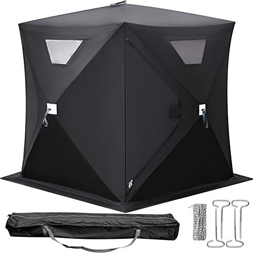 Happybuy 2-3 Person Ice Fishing Shelter, Pop-Up Portable Insulated Ice Fishing Tent, Waterproof...