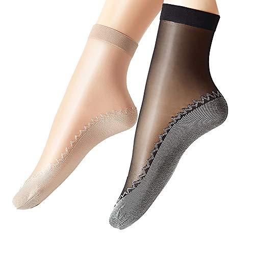 Ueither - 12 paia di gambaletti velati da donna, alla caviglia, con soletta in cotone antiscivolo e punta rinforzata (6 Coppie Nero 6 Coppie Beige)