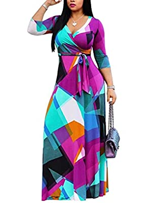 Material: Polyester+Spandex,stretchy and comfortable to wear. Feature:geometric print,colorblock,bohomain,floral print,sexy deep v neck, african print, 3/4 sleeve,short sleeve, wrap long maxi dress with belt. African Wrap Maxi Dress! Designed with a ...