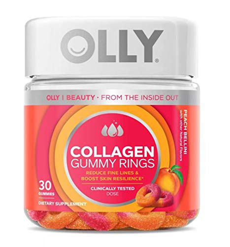 Olly Collagen Gummy Rings! 30 Gummies Peach Peach Bellini Flavor! Formulated with Bioactive Collagen Peptides! Reduce Fine Lines and Boost Skin Resilience! Choose Your Pack! (1 Pack) 1