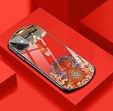 iPhoneXR ケース 携帯ケース 鏡付き 強化ガラス 放熱仕様 (iPhoneXR, 赤色)