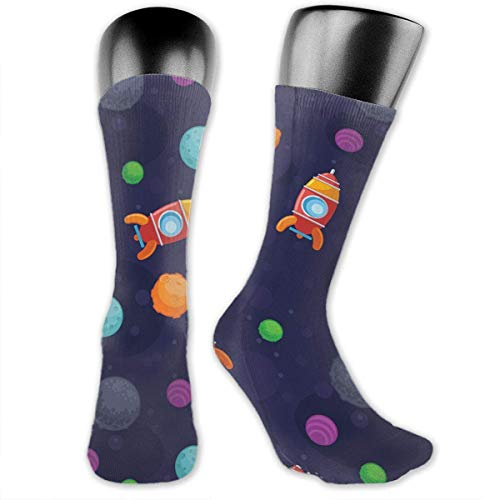 Drempad Luxury Calze Spaceship Cotton Casual Colorful Fun Below Knee High Athletic Socks