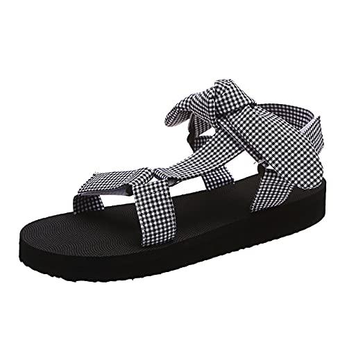 YWLINK Zapatos De Mujer Sandalias Planas con Plataforma Y Lazo Sandalias O Alpargatas CuñA Cubierta De Punta Abierta Sandalias De Gran TamañO Nuevas Sandalias con Estampado De Leopardo De Moda