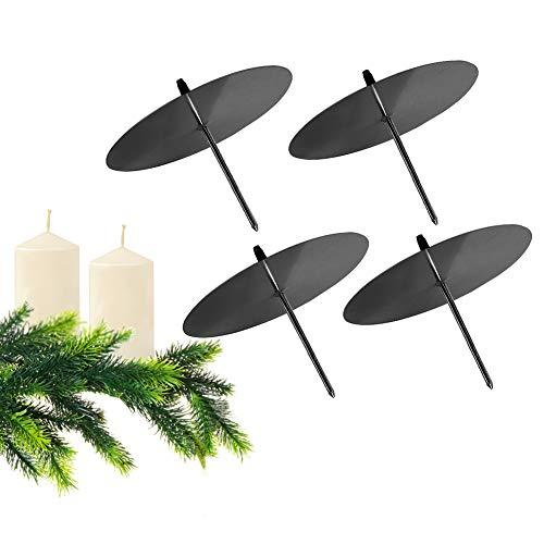 GoMaihe Kerzenhalter Adventskranz 4 Stück, Kerzenteller für Adventskranz Metall, Kerzenpick mit Dorn 8cm Adventskerzenhalter, Kerzenstecker für Advent Weihnachts Tisch Deko Hochzeit, Schwarz, MEHRWEG
