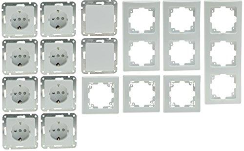 DELPHI Starter-Kit PRO, weiß, 8 Steckdosen, 2 Schalter, inkl. 6 Rahmen 3 x 1er, 2 x 2er, 1 x 3er, einfacher Anschluss