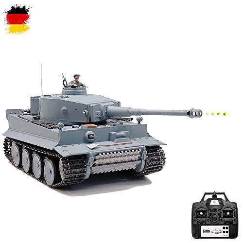Modellino radiocomandato del carro armato tedesco Tiger I, scala 1:16, edizione da 2.4 GHz, con effetti sonori, spari e fumo, set completo RTR.