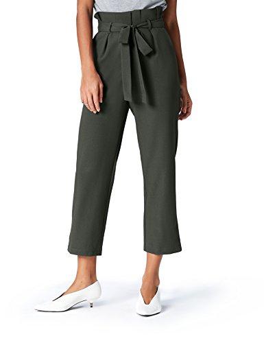 Marca Amazon - find. Check Paperbag Waist, Pantalón de Cuadros con Cintura de Fuelle Mujer, Verde (Khaki), 38, Label: S