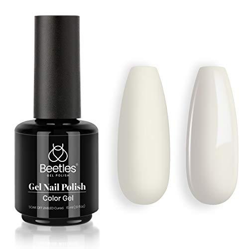 Beetles Gel Nail Polish 15ml Candice Cotton Milk White Color Soak Off LED Nail Lamp Gel Polish Nail Art Manicure Salon DIY Home Christmas Gel 0.5Oz
