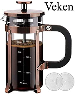 Veken French Press Coffee Maker 12oz, 304 Stainless Steel Borosilicate Glass Coffee Press, Copper