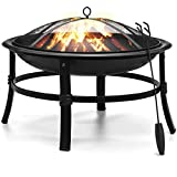 KINGSO Fire Pit, 26'' Fire Pits Outdoor Wood Burning Steel BBQ Grill Firepit Bowl with Mesh Spark...