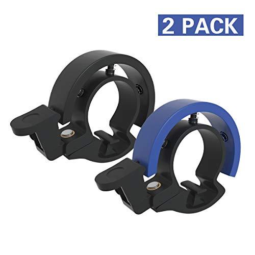 Cevikno 2 Pack Mini Fahrradklingel Aluminiumlegierung Innovative Fahrradklingel Fahrrad Ring, O Design Fahrradglocke Laut Hellen und Lauten Klang (Blau + Schwarz)