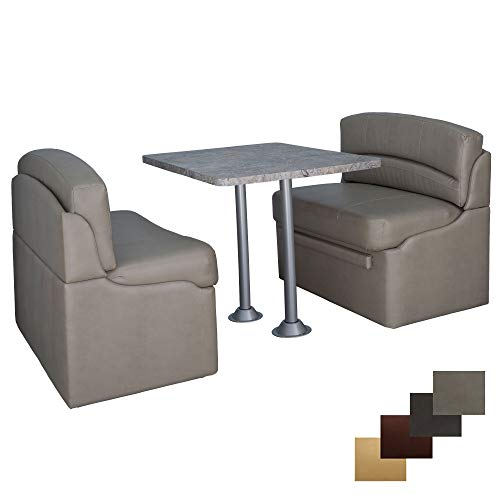 RecPro 42' Dinette Booth Set with Table and Leg, Includes Two Dinette Booths for RV's | 5th Wheel Camper Dinette Seating with Bed Conversion, Table and Table Posts