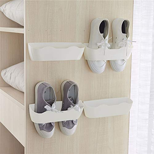 Yocice Wall Mounted Shoes Rack 4pcs with Sticky Hanging Strips,...