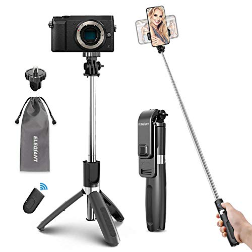 ELEGIANT Bastone Selfie Wireless, 4 in 1 Asta Selfie Stick Bluetooth 100cm con Treppiede e Telecomando Wireless per Samsung Huawei LG HTC 3,7-6,8in Cellulare Camera Gopro ecc