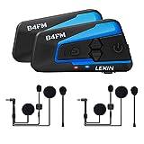 LEXIN 2pcs LX-B4FM Intercom Moto Duo Imperméable pour 2 Casques Ecouteurs Bluetooth Oreillette Kit...