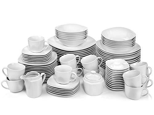 Sänger Geschirrservice Bilgola aus Porzellan 86 teilig   Kombiservice für 12 Personen Speisetellern, Desserttellern, Suppentellern, Tassen und Untertassen, Eierbechern sowie Milchkanne und Zuckerdose