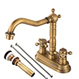 """Antique Brass Centerset Faucet Two Handle with Pop-up Drain and Hoses, Cross Knobs, Basin Mixer Tap Three Holes, Swivel 4"""" Centerset Bathroom Sink Faucetby Gecious"""