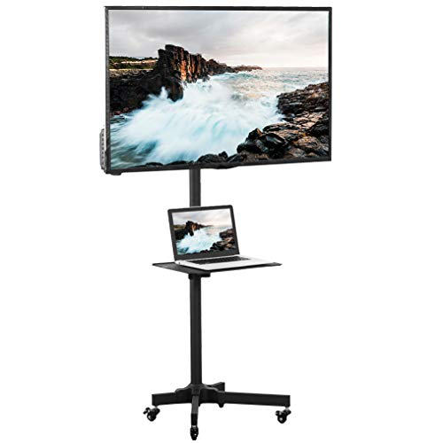 VIVO Universal Mobile TV Cart for 23-55 inch LCD LED Flat Panel Screen TVs up to 55 lbs | Pro Height Adjustable Rolling Black Stand with Laptop Shelf, Locking Wheels - Max VESA 400x400 (STAND-TV04M)
