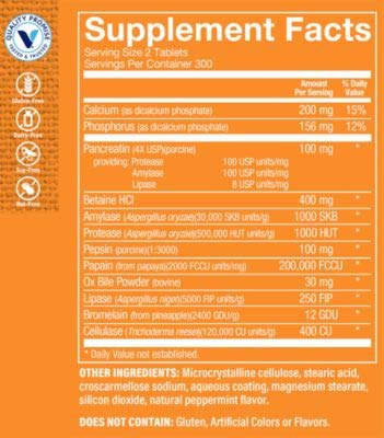 Multi Enzyme Helps Support The Digestion Absorption of Protein, Carbs Fat (600 Tablets) by The Vitamin Shoppe 3