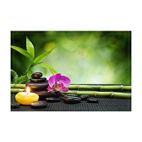 EdCott Tappeti da bagno Zen Stone giapponesi asiatici Fiori di loto con candela di bamb verde per...