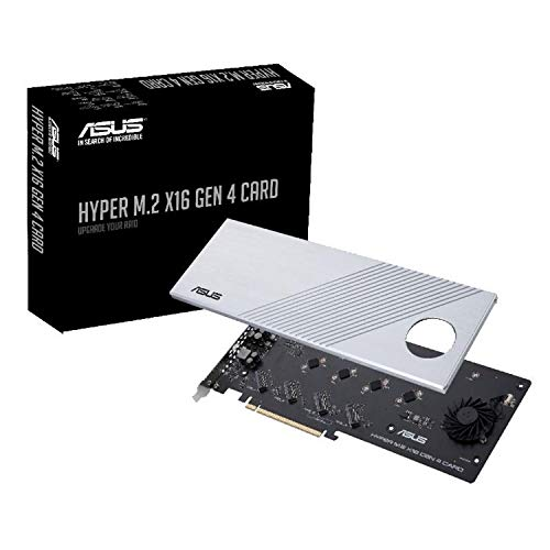 ASUS Hyper M.2 X16 PCIe 4.0 X4 Expansion Card Supports 4 NVMe M.2 (2242/2260/2280/22110) up to 256Gbps for AMD 3rd Ryzen sTRX40, AM4 Socket and Intel VROC NVMe Raid