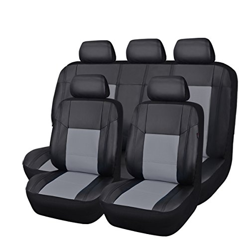 NEW ARRIVAL- CAR PASS Skyline PU LEATHER CAR SEAT COVERS - UNIVERSAL FIT FOR CARS,SUV,VEHICLES (11PCS, Black With Gray)