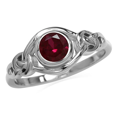 Silvershake Created Red Ruby White Gold Plated 925 Sterling...