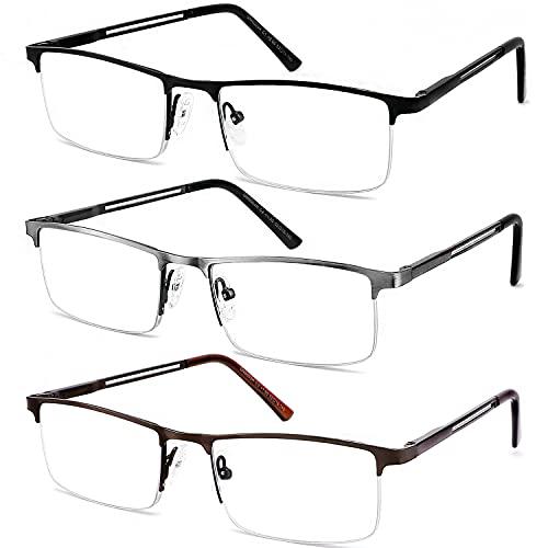 JJWELL 3 Pack Blue Light Reading Glasses for Men, Lightweight...
