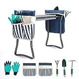 LYKO's Portable Garden Kneeler and Seat+2 Tool Bag-Gardening Bench W/ Free Garden Accessories Outdoor Tools Kit-Comfy Eva Foam Padded Garden Stool Kneeling Chair