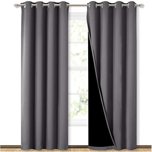 NICETOWN Grey Full Shade Curtain Panels, Pair of Energy Smart &...