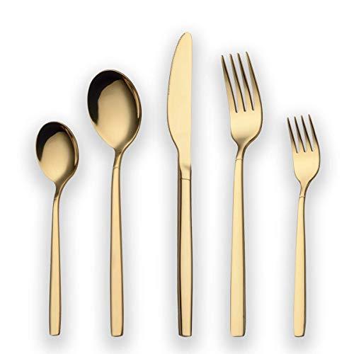 Set di posate placcato oro 30 titanio Berglander, 30 posate Set di posate dorate, set di posate in argento, servizio per 6 (oro lucido)