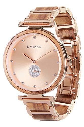 LAiMER Holzuhr - Damen Quarz Armbanduhr MIA aus Akazienholz - Analog, Kristall-Index, Ø 36mm - Zero Waste Verpackung aus Naturholz