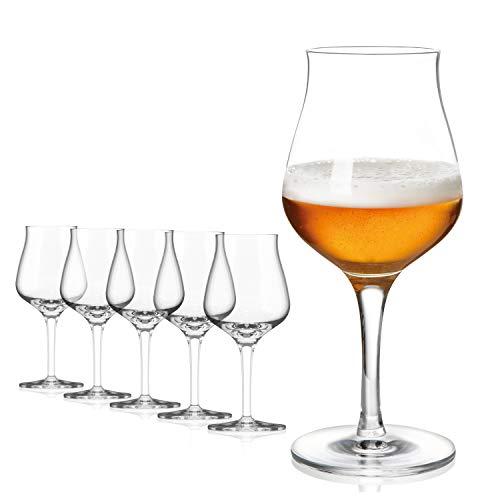 Set bicchieri birra 6 pezzi | Bicchiere da 420 ml | Bicchieri birra vetro | Calici birra per degustazione | Set di bicchieri da birra | Bicchieri calice