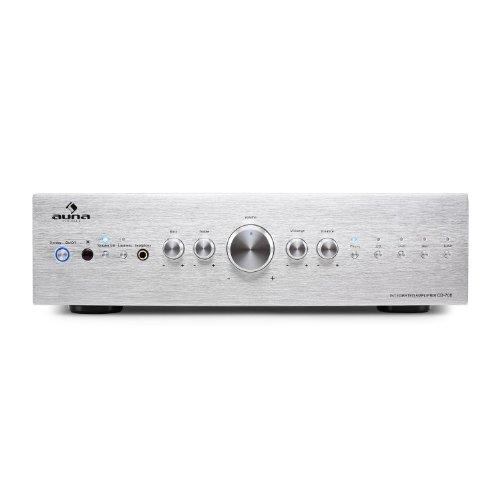 AUNA Amp4 BT - Mini Amplificatore , Amplificatore Hi-Fi , USB , Telecomando incl. , Display LED , Bluetooth , Equalizzatore 2 Bande , Potenza: 2x25 Watt , Lettore schede SD/MMC , Nero