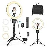 12' Anillo de Luz, Aro de Luz con 43-135cm Trípode, 30 Brillo y 10 Temperaturas de Color, Control Remoto Bluetooth y Control Táctil, Soporte Giratorio de teléfono, para Selfie, Maquillaje, Youtube