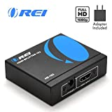 1x2 HDMI Splitter by OREI - 1 Port to 2 HDMI Display Duplicate/Mirror - Powered Splitter Ver 1.3 Certified for Full HD 1080P High Resolution & 3D Support (One Input To Two Outputs) - Adapter Included