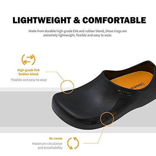 Product Image 4: STICO Men's Slip Resistant Chef Clogs, Professional Non-Slip Work Shoes with Air Vents for Restaurant Hospital Nursing Garden [Black/US Men 5]