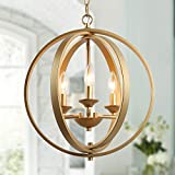 KSANA Gold Orb Chandelier, Modern Globe 3 Light Fixture for Dining & Living Room, Bedroom, Foyer and Kitchen