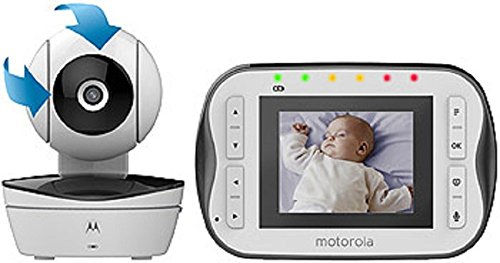 Motorola Digital Video Baby Monitor MBP41S with Video 2.8 Inch Color Screen, Infrared Night Vision, with Camera Pan, Tilt, and Zoom … (2.8' Screen - One Camera)