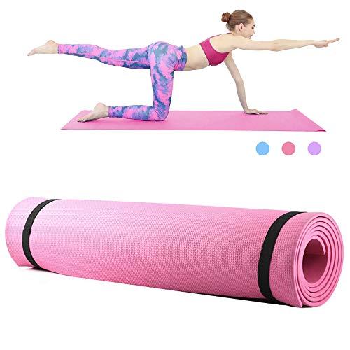 Roeam Yogamatte,Yoga Matte,Fitness Sportmatte, Yogamatte rutschfest,Household Gym Training Pad für Frauen Männer,173 * 61 * 0.6 cm, Rosa