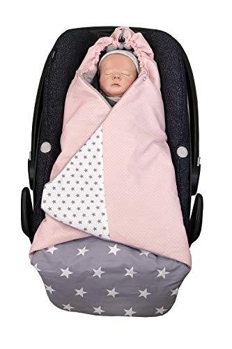 ULLENBOOM Einschlagdecke für Babyschalen l Universal geeignet für Kindersitze sowie Babywannen in Kinderwagen l 0-9 Monate l Rosa Grau