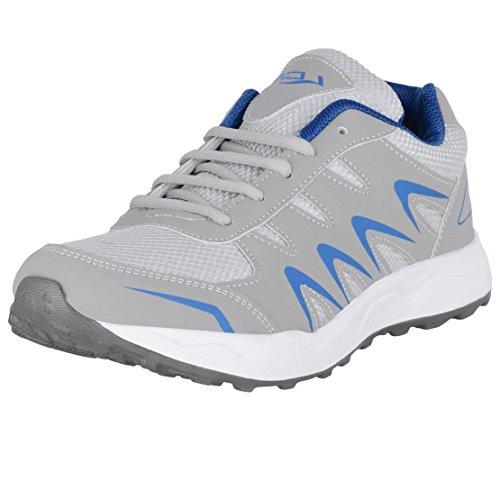 Lancer Men's Grey Blue Running Shoes-9 (INDUS-26-LGR-RBL-9)