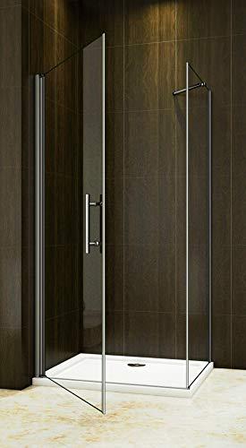Duschkabine 90x90cm Duschabtrennung Drehtür Duschtür Duschwand Seitenwand NANO Glas 195cm