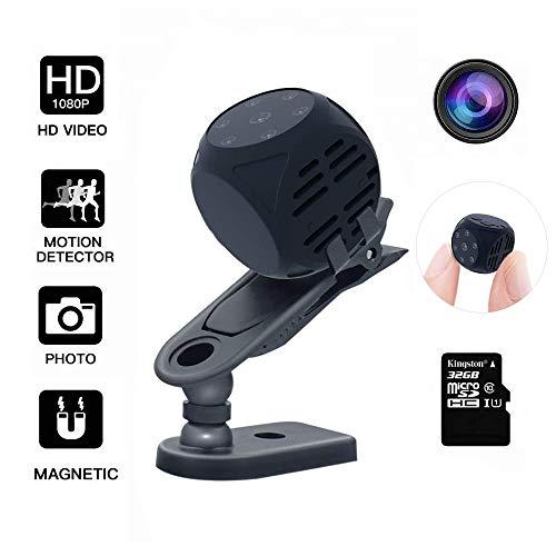 Telecamera mini spia nascosta senza fili, DEXILIO 1080P Telecamera nascosta per micro sorveglianza interna / esterna portatile piccola (con scheda da 32 GB)