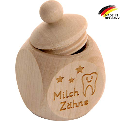Spruchreif PREMIUM QUALITÄT 100% EMOTIONAL · Milchzahndose aus Holz mit Schraubdeckel und Gravur · Kinder Zahndose für Milchzähne zur Aufbewahrung perfekt als kleines Geschenk · Zahnfee